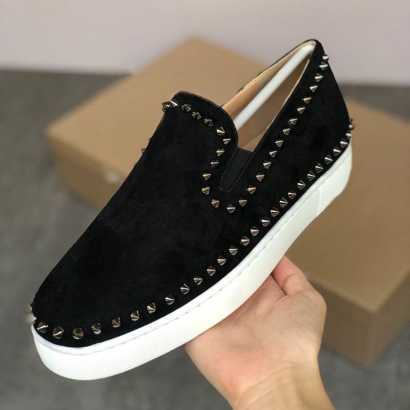 Imprimir Spikes las zapatillas de deporte de las mujeres de los hombres rojos zapatos inferiores Orlato los hombres de cuero plano Formadores Moda escotado Pik barco de rodillos holgazanes de 15 colores en barco