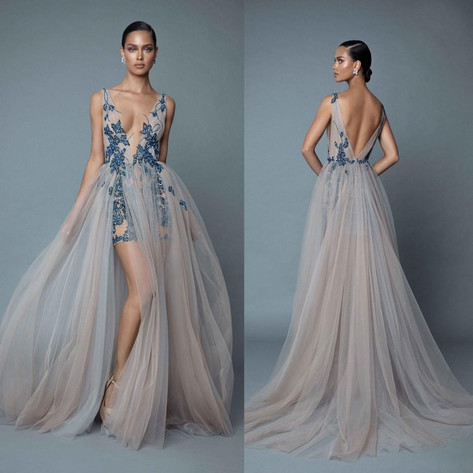 2020 Berta Evening Dresses With Overskirts Plunging V Neck Backless Prom Dress With Appliqued Beaded Floor Length Party Dresses E031