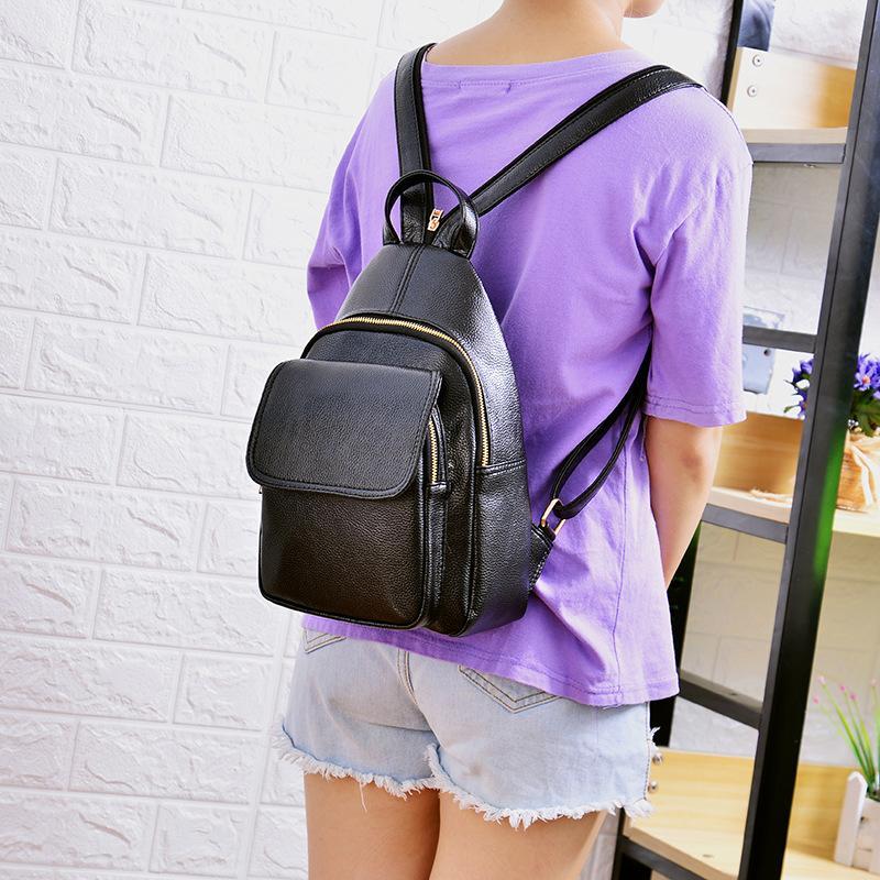 2020 nuevas damas mochila Corea del estilo sencillo de la moda mochila ocasional del color sólido de las mujeres de la cremallera