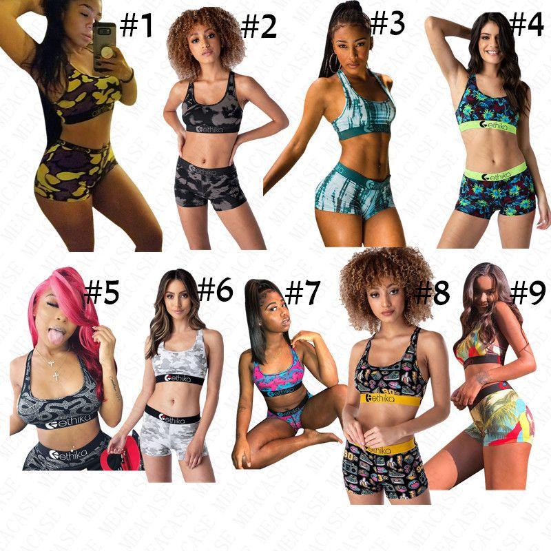 Summer Women Designer Swimsuit 2 Piece Swimwear Branded Print Sports Bra Crop Tank Vests + Shorts Bikini Set Beachwear Swim Bath Suit D61513