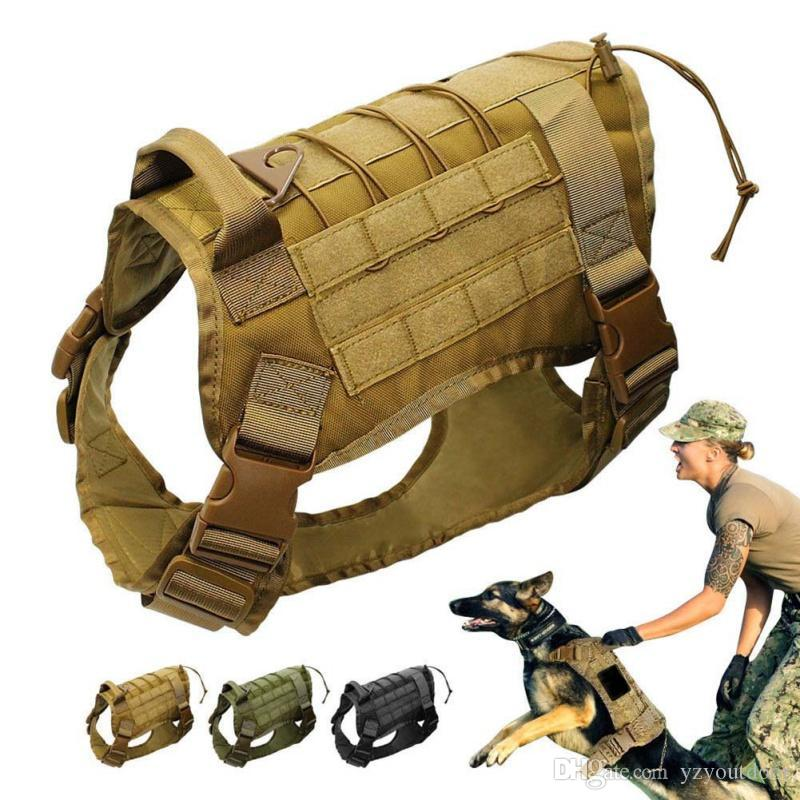 Adjustable Tactical Service Dog Vest Training Hunting Molle Nylon Water-resistant Army Patrol Dog Harness with Handle Hunting