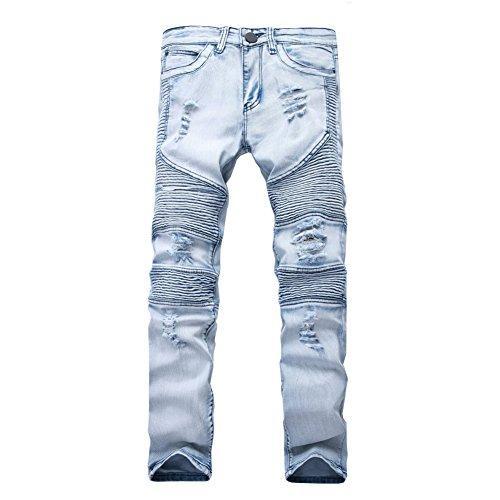 LOBIDA Destroyed Mens Slim Denim Biker Jeans ajustados con capucha Casual Long Men Jeans rotos