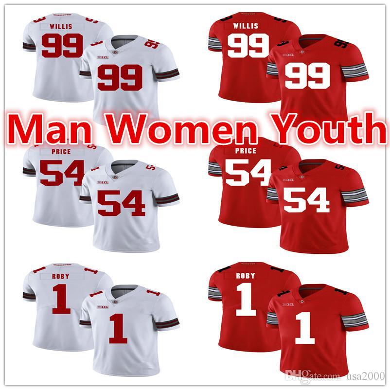 2020 customize NCAA Ohio State Buckeyes футбольные майки Билл Уиллис 99 Билли Прайс 54 Брэдли Роби 1 Джерси любое имя номер S-5XL