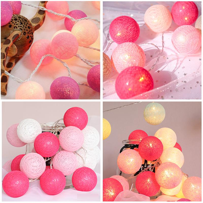 20 LEDs Cotton Ball String Lights for Outdoor Decoration Wedding Holiday Garland Christmas Globe Lighting Chain new