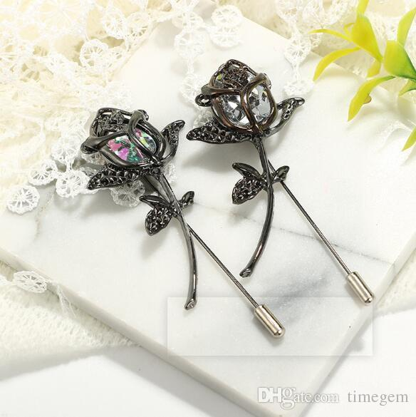 Vintage Simple Geometric Rose Brooch Fashion Geometric Corsage Pins Brooches Gift Party Silk Scarf Buckle X1089