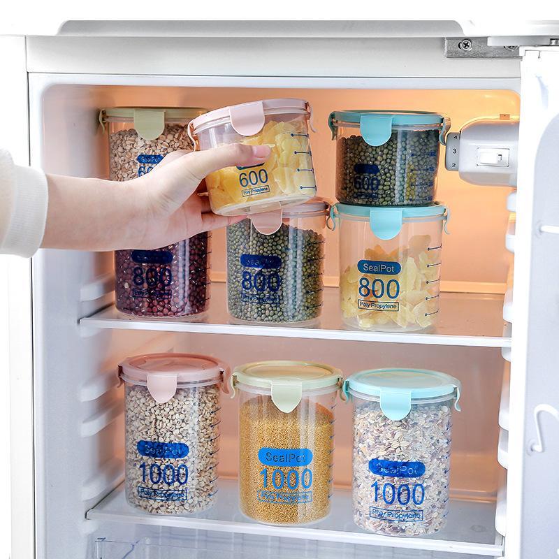 1856 Seal Cozinha Transparente Fresh Up Tanque Traga tampa plástica grossa Cereais Aceitar Pot Aceitar Box