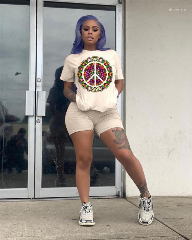 Sumeer Designer 2 pezzi Pantaloni Girocollo manica corta Moda amore femminile Abbigliamento sportivo Stile casual Abbigliamento Pace Stampa Womens