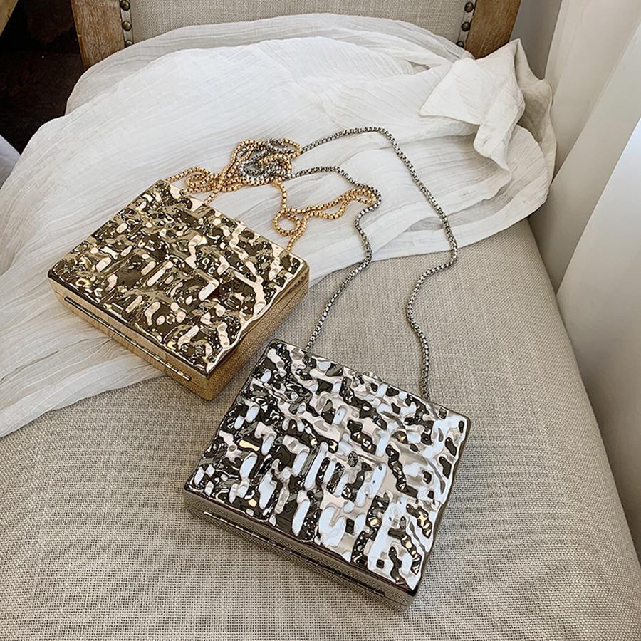 Caja de metal de la manera bolsos de noche Hombro de la cadena bolsas de Crossbody del agua de la ondulación de plata Señora Embragues partido del monedero