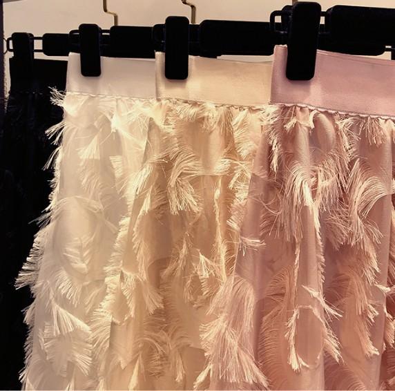 Pena longa borlas A-line Atacado-Novo Mulheres de Verão de Moda saia cintura elástica Feminino chiffon Saias