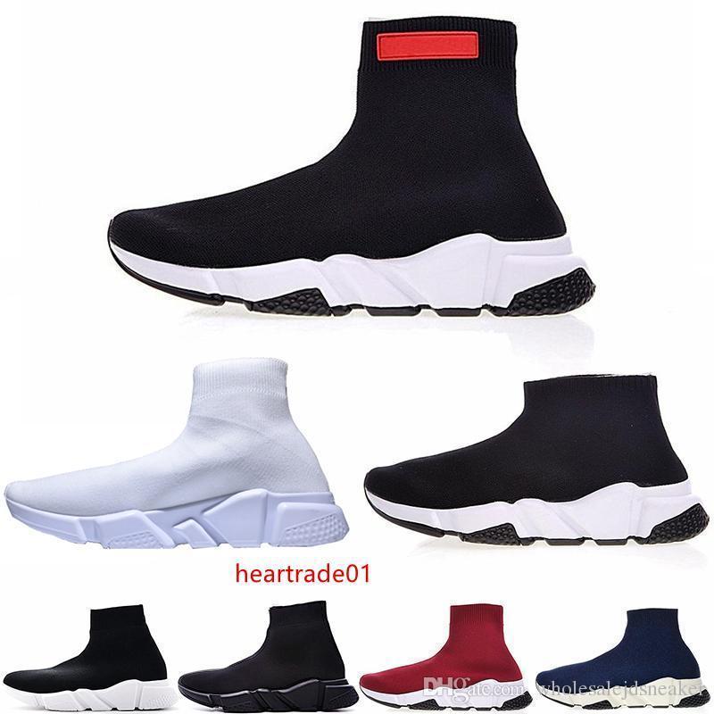 Commercio all'ingrosso di lusso della moda scarpe per le donne gli uomini Triple Nero piani di modo calzini Boot Mens Sneaker Speed Trainer Zapato 36-45 Esecuzione