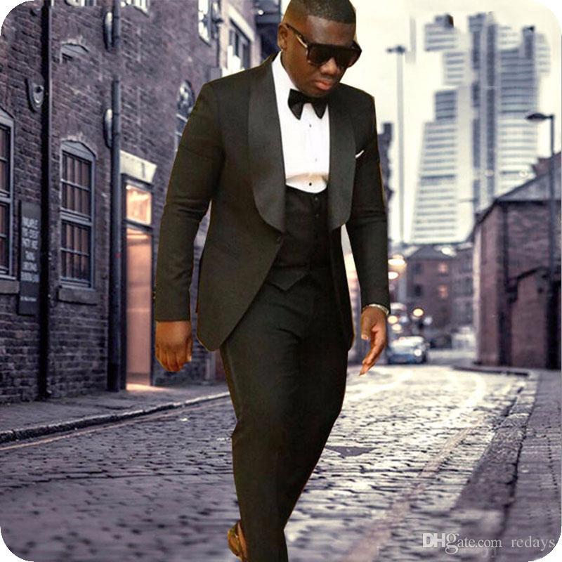 Erkekler Düğün Damat Smokin Big Şal Kostüm Homme Slim Fit Terno Masculino Man Blazer Trajes de hombre 3piece için Son Tasarım Siyah Suits