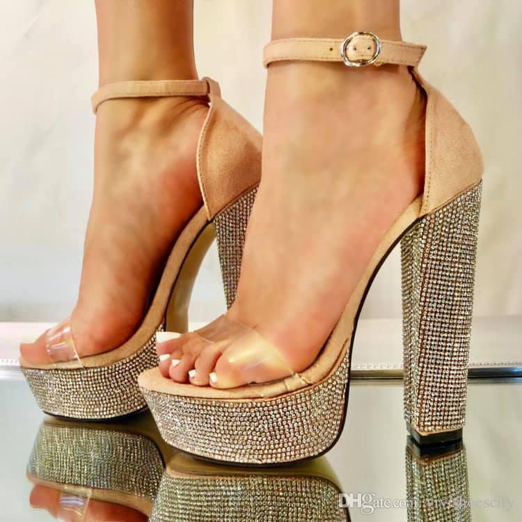 brilho strass cristal tornozelo bloco cinta de saltos altos saltos designer prom sapatos de designer de moda de luxo mulheres sapatos
