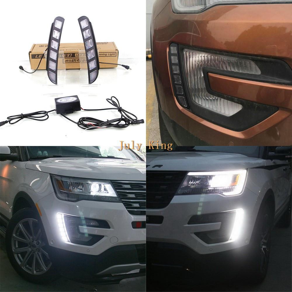 Juillet roi Cas LED Feux de jour pour Ford Explorer 2016-2020, LED DRL pare-chocs avant, 1: 1 Remplacement