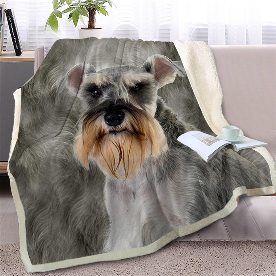 BlessLiving шнауцер бросить одеяло на диван-кровать 3D собака Шерпа флис одеяло животное покрывала серый мех тонкий одеяло 150x200 см