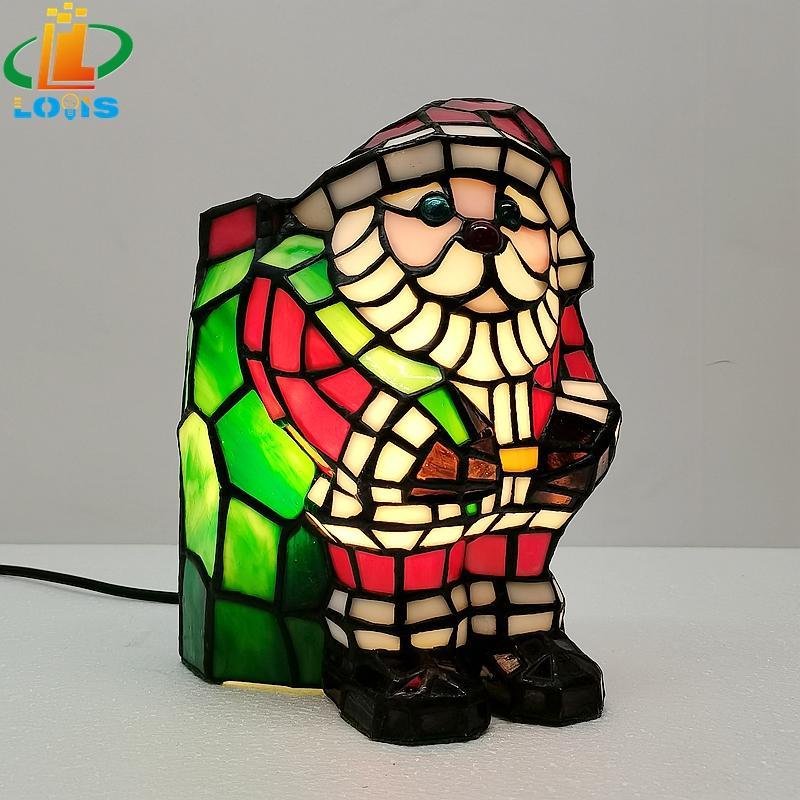 lámpara de artesanía de vidrio de color de Santa Claus lámpara de mesa de noche superior decorativa lámpara de Tiffany