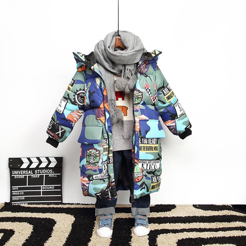 Jaqueta de algodão acolchoado crianças engrossar roupas quentes roupas de bebê Graffiti Camuflagem floral crianças para baixo jaqueta de inverno menino parka
