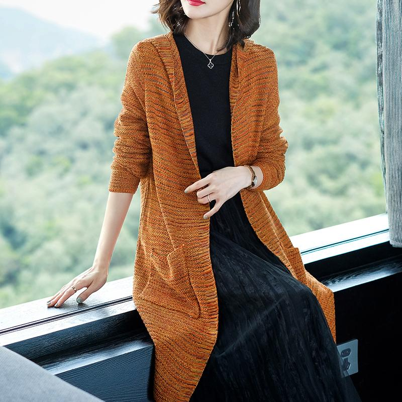 Marca Hooded Knit Cardigan 2019 Primavera Otoño Mujeres Cardigan Nueva Moda Casual Hit Color Rayas con cuello en v Suéter de punto femenino