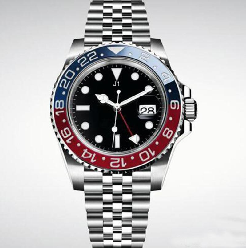 Hot Sale Mens Relógios de pulso azul Red moldura de aço inoxidável Assista 126710 Movimento automático GMT relógios de grife Assista New Jubilee Mestre Homens