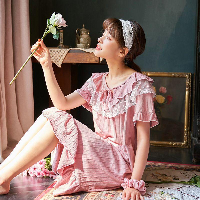 Korean Cute Sweet Cotton Nightgown Lingerie Dress Summer Sleepdress Plus Size Women Princess Shirt Sleepwear Nighty Nightdress