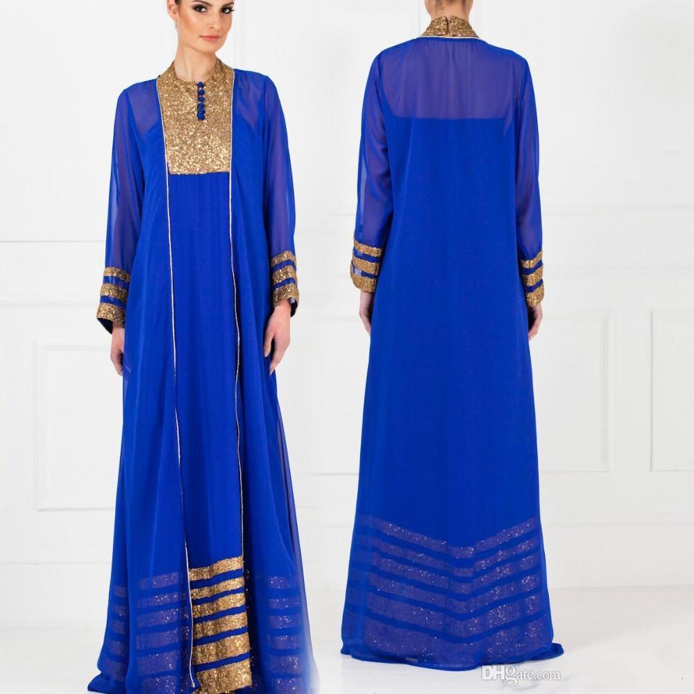2019 Nuovo abito elegante manica lunga Vintage Royal Blue Dubai arabo caftano musulmano abiti da cerimonia stile arabo formale