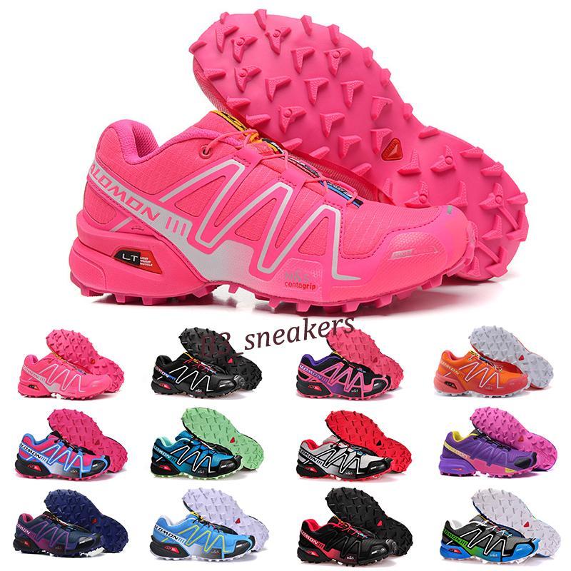 salomon speedcross 3 4 Solomon 3s Speedcross 3 III CS Trail Outdoor Shoes Carmine Triple Black Purple Run Walking Trainer B9