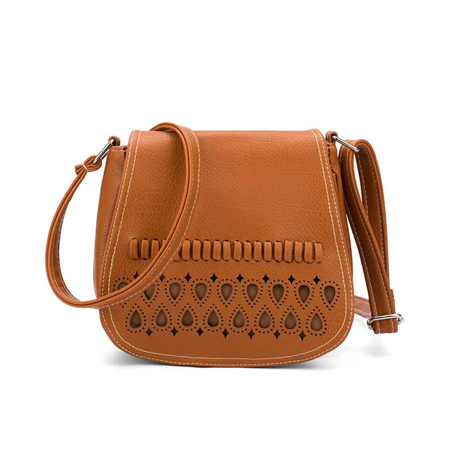 New Small Women Shoulder Messenger Bag Female Pu Leather Crossbody Bags for Girl Mini Hollow Out Saddle Ladies Purse and Handbag