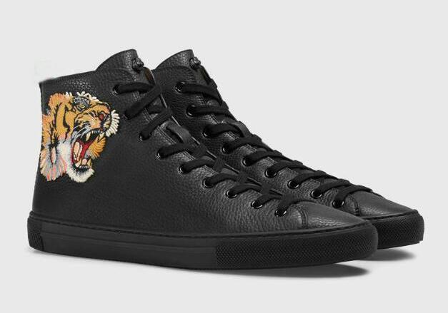 Новый высокое качество кожа мужская Повседневная обувь плоские Привет-топ кроссовки черный белый тигр глава змея женщины дизайнер сапоги #273