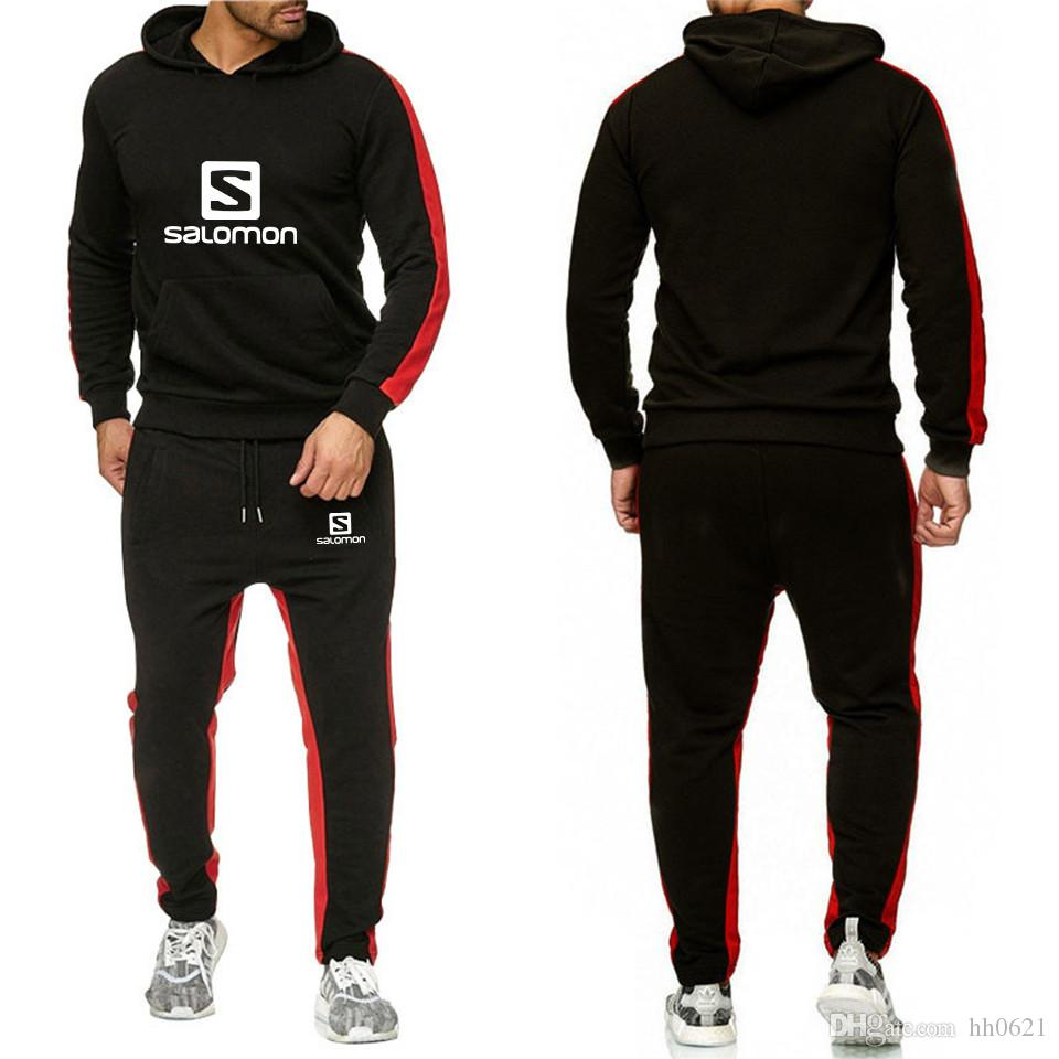 marca de deportivos hombres chándal con capucha del chándal pista chándales de los hombres establecer letra de la impresión de gran tamaño Sweatsuit conjuntos masculinos N-3XL