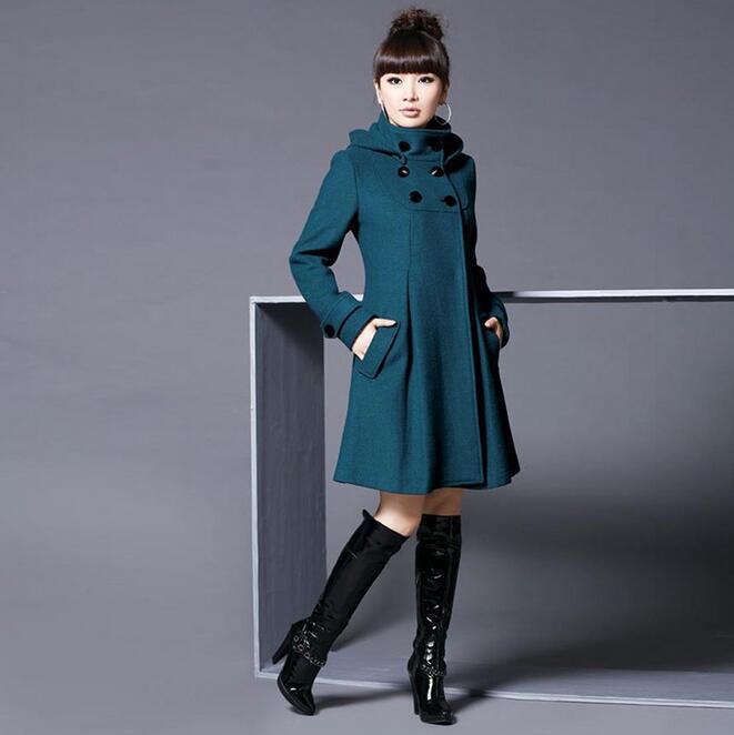 Nouveau manteau de laine des femmes version coréenne était mince dans la longue section du manteau du vent collège châle manteau grande taille coupe-vent