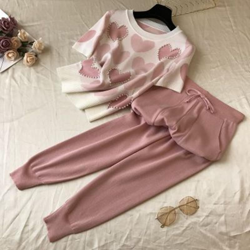 Summer Sweet Mind Pattern Tricot Women Two Piece Set Short Manga O-neck Pearls Pullover Tops + Leisure Haren Pants Suit