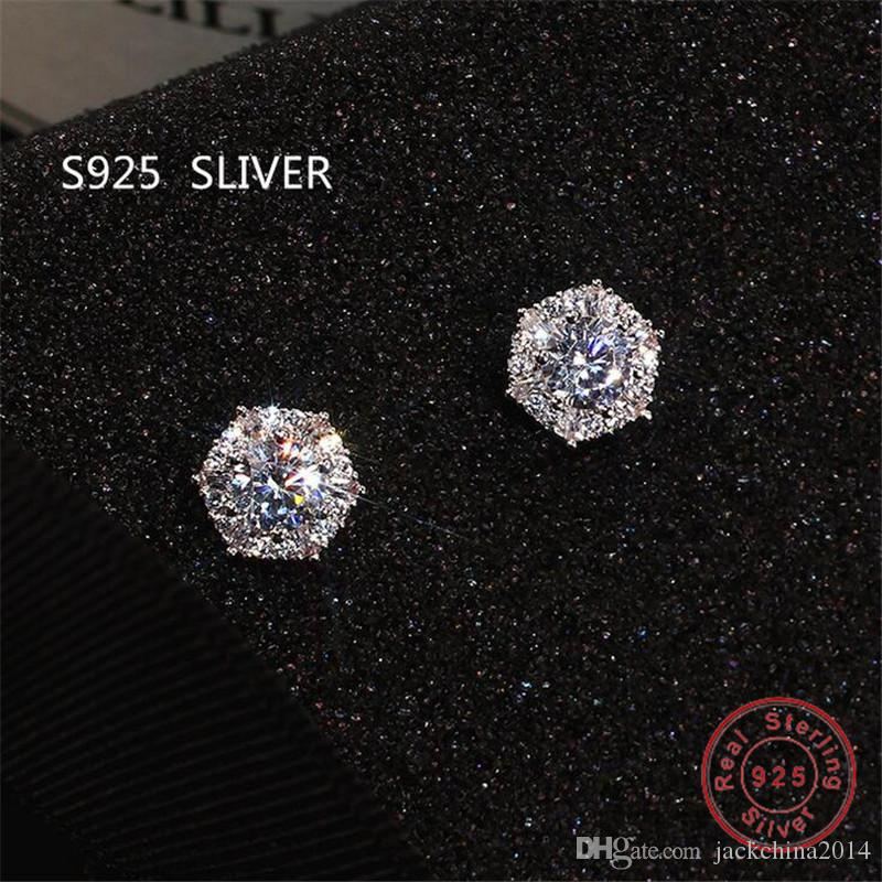 Einfache Art und Weise Schmuck Stunning reale 925 Sterlingsilber-Rundschnitt-Weiß Topaz CZ-Diamant-Edelstein-Partei-Frauen Hochzeit Brautohrstecker
