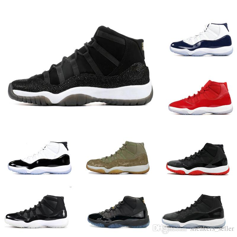 Avec boîte 11 XI Mens Basketball Chaussures à vendre Concord Bred Olive Lux Lux Platinum Teint Space Confiture Unc XI Sport Sneakers 3647
