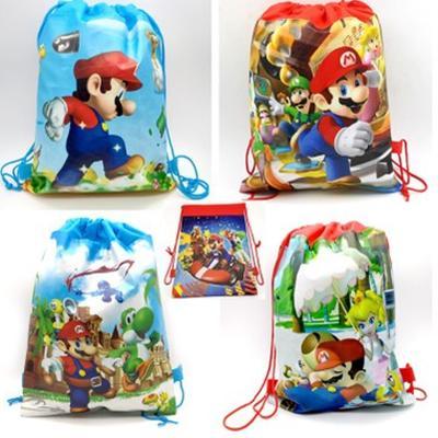 12 개 슈퍼 마리오 애니메이션 부직포 졸라 어린이 배낭 졸라 가방 아이 생일 축제 오프닝 선물 가방