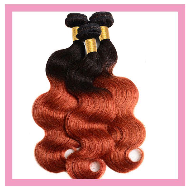 الشعر البشري البرازيلي 1b 350 أومبير اثنين من نغمات اللون الجسم موجة 3 حزم مزدوجة اللفت 1b / 350 منتجات الشعر 3 قطع / الكثير