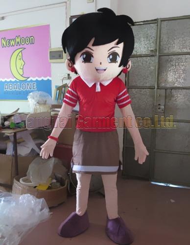 Neue kurze Haar-Mädchen-Maskottchenkostüm Erstklassig deluxe Zeichentrickfigur Kostüme Mädchen Maskottchenklage Abendkleid Partei Karneval-freies Verschiffen