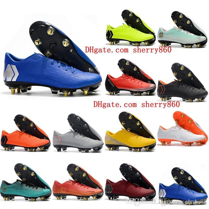 2018 erkek futbol Mercurial Superfly VI 360 Elite SG AC futbol ayakkabıları cr7 futbol ayakkabıları Mercurial XII PRO SG scarpe calcio outdoor pervazları