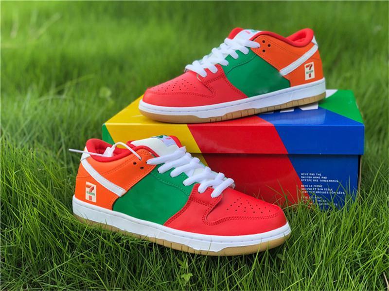 2020 Auténtico 7-Eleven x SB Dunk Low zapatos corrientes de los hombres de las mujeres Rojo Verde Naranja Skateboarding zapatillas de deporte de Tokio límite con la caja original