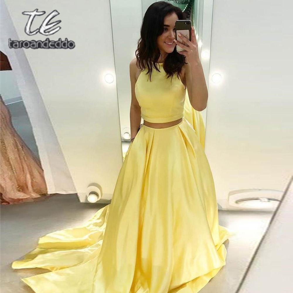 Dos piezas, vestidos de fiesta amarillos, longitud del piso, espalda abierta, una línea, tren, tren, raso, noche, vestido de fiesta formal Vestido De Fiesta