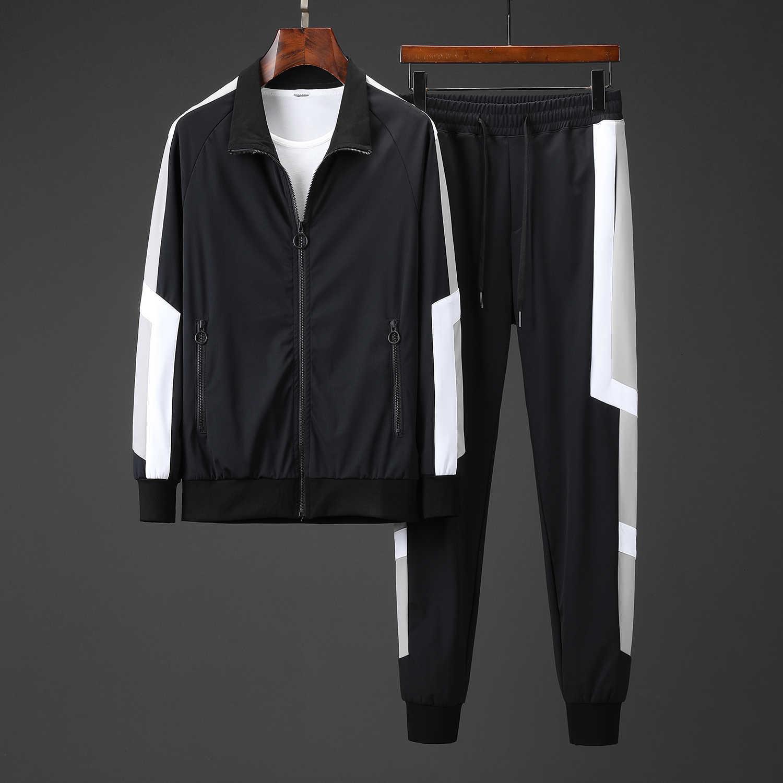 Chegada nova Mens Designer Sportswear Casual Slim Moda Quente Cor Costura Sports Set