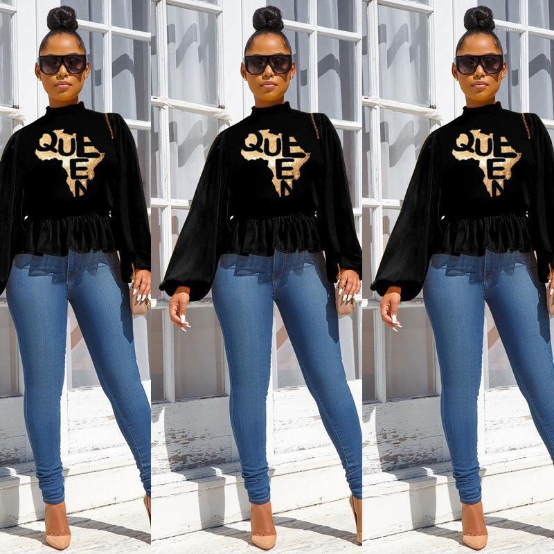 Gevşek Üst Famale Tasarımcı Rahat Giyim Bayan Fener Kol Balıkçı Yaka Tişört Moda Bel Sıcak Damgalama