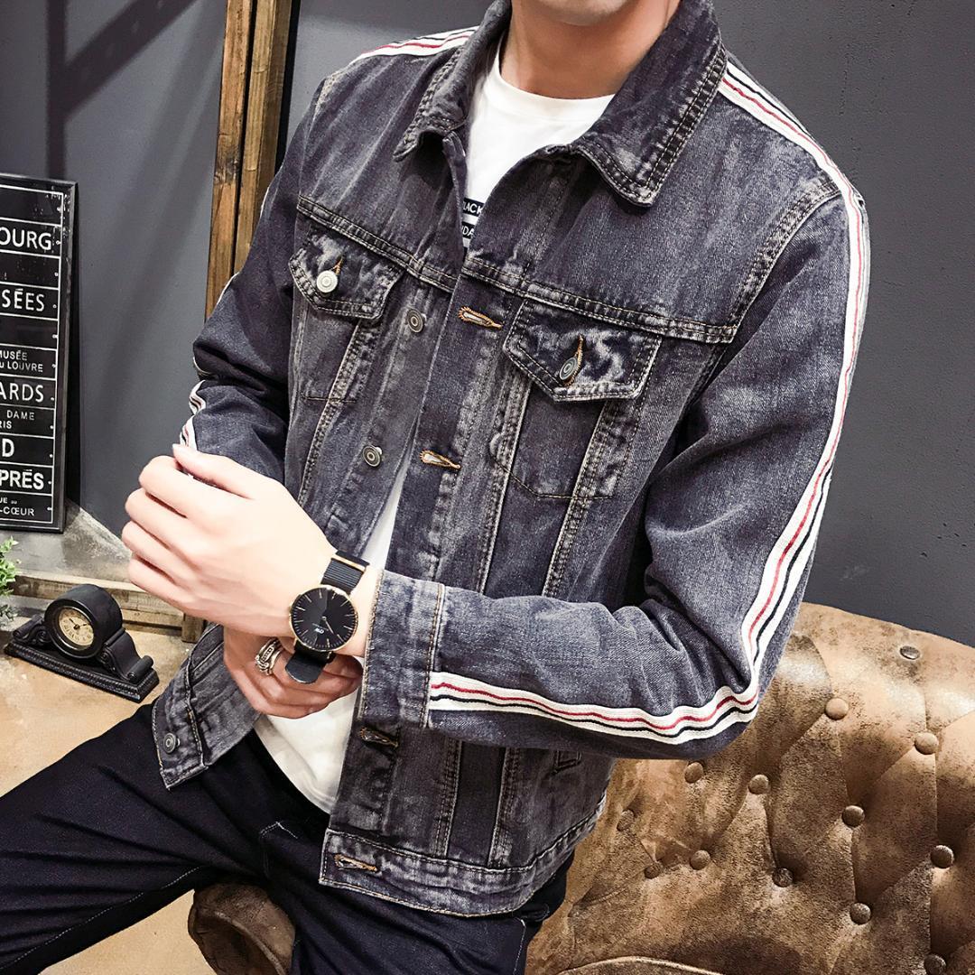 Jaqueta de algodão do Hot New Men Primavera e Verão cor sólida Sports soltas Casual Street Fashion Motos Denim Jacket fz0215