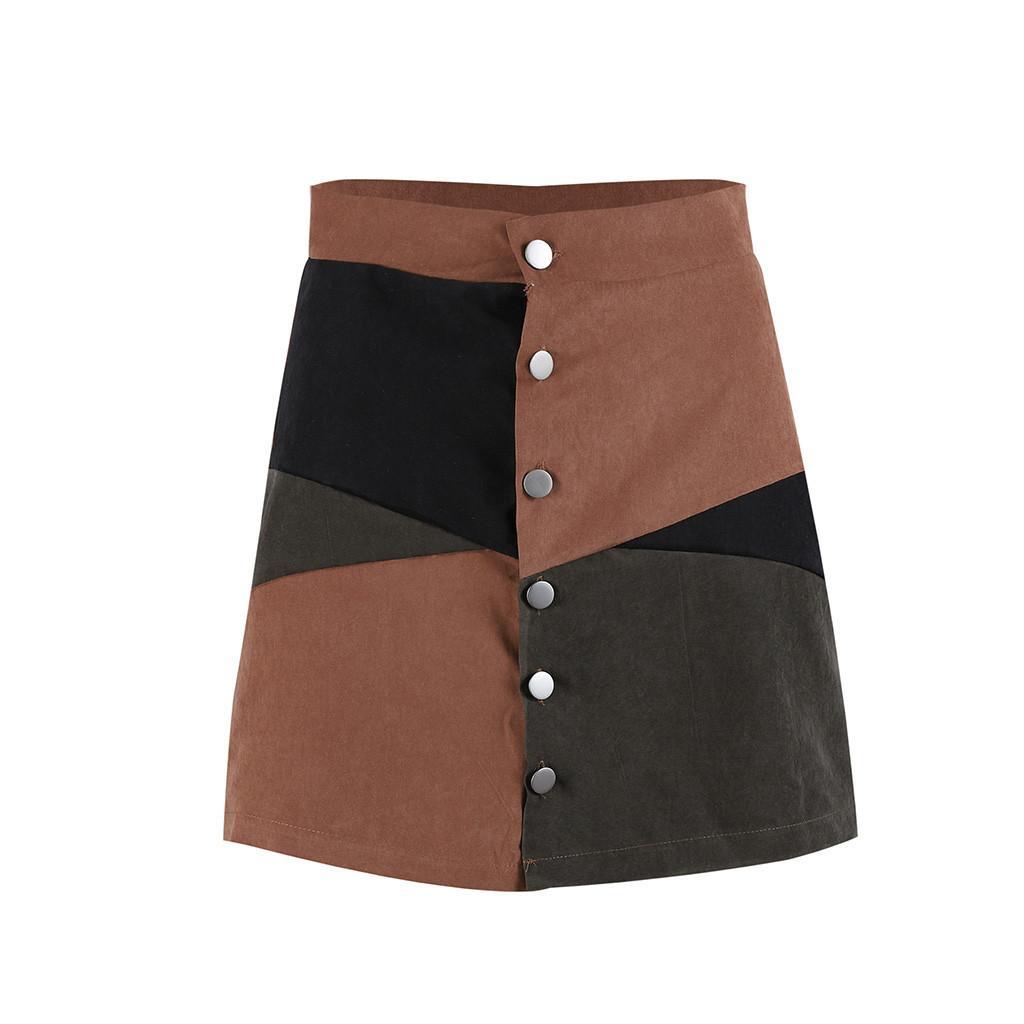 Womail donne del pannello esterno casuale di estate Botton A-Line Skirt Patchwork a blocchi di colore Breve Minigonna giornaliera 2019 dropship F9