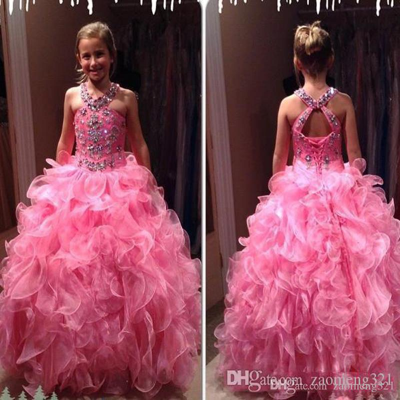 2020 Hot Pink Girls Pageant Dresses Lujo Crystal Beaded Halter Organza Ruffle Longitud Longitud Kid Formal Wears