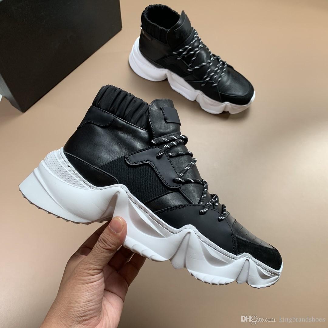 chaussures de luxe automne 2019 de nouveaux modèles de véritables hommes de haute-top en cuir sneakers hommes chaussures chaussures de sport occasionnels fond épais noir