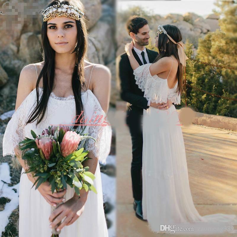 Bretelles spaghetti exclusives dentelle Boho Bohème robes de mariée printemps 2020 robe de mariée balle de mariée A-ligne jardin arabe robes de mariée