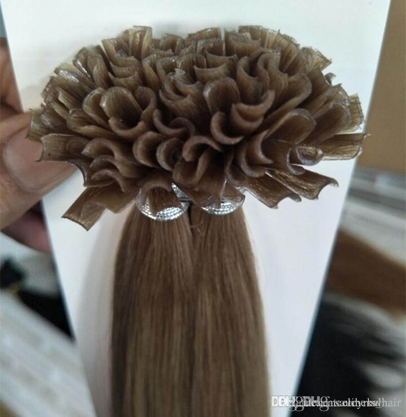 12--26inch U наконечник европейского Remy человеческих волос 100g / пакет 1 г / с, 100s / Lot, цвет 4 цвет # 613 Nail Russion волос Remy, свободный DHL