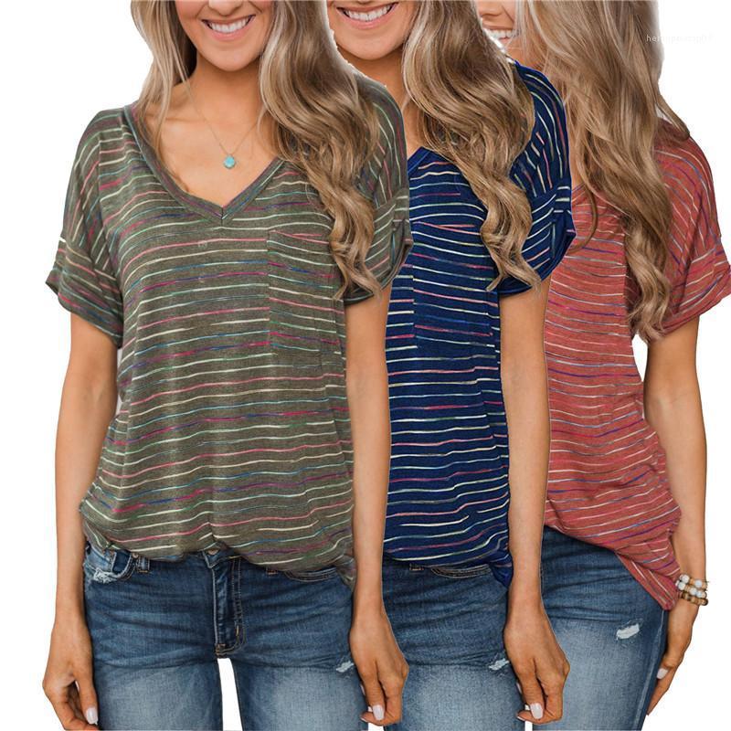 Круглый шеи короткими рукавами Повседневный тройники Famale Дизайнер Топ женщин Многоцветный Полосатый Printed Tshirt Сыпучие