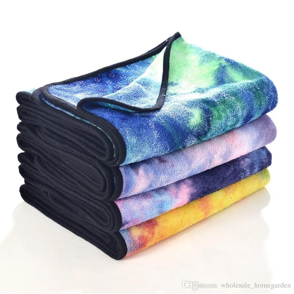 Microfiber Non Slip Yoga Towel new Soft Travel Sport Fitness Exercise Yoga Pilates Mat Tie-dye Printed Blanket