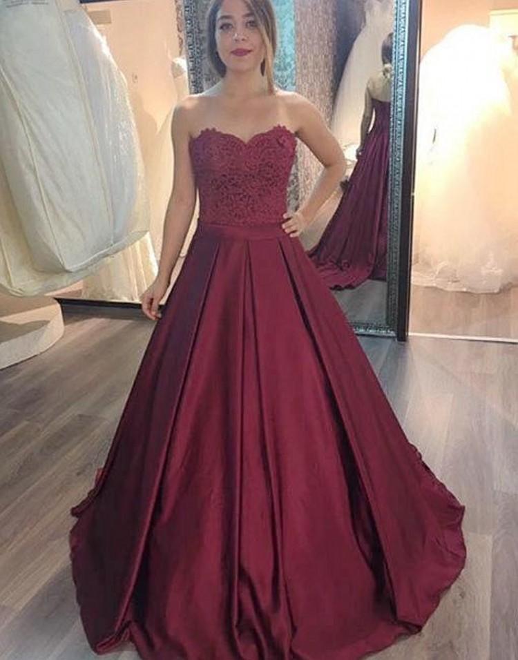 Burgundy vestido de baile Quinceanera Dresses Querida Lace Satin Andar vestido de baile Length Prom Vestidos Dark Red Sweet 16 Dresses
