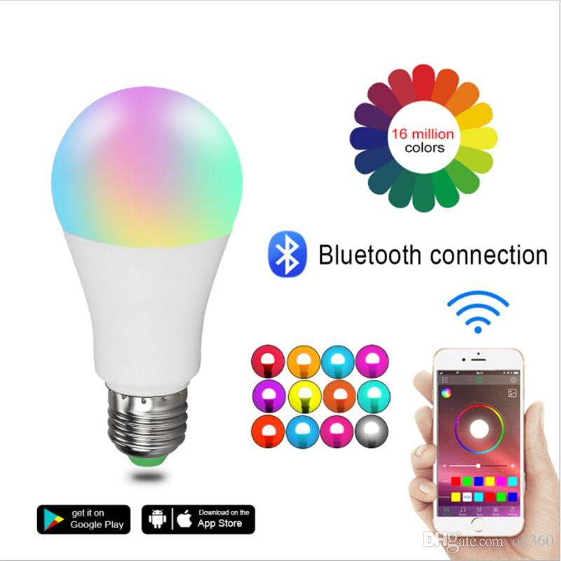 Bombilla Nueva inalámbrica Bluetooth 4.0 Bombilla inteligente hogar de la lámpara de iluminación 10W E27 RGB + W magia del cambio LED de luz en color regulable IOS Android